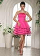 Hot Pink and Black Homecoming Dress With Appliques and Beading For Custom Made