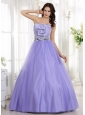 Lilac Ruched Bodice and Beaded Decorate Waist For Prom Dress