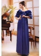 Off Shoulder Half Sleeves Blue Chiffon Empire Beaded Formal Evening Mother of the Bride Dress Custom Made