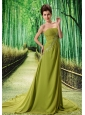 Olive Green Chapel Train Beaded Appliques Chiffon 2013 New Styles Custom Made Prom Gowns