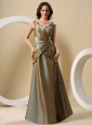 Olive Green V-neck and Ruched Bodice For Mother of the Bride Dress