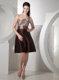 One Shoulder Brown Knee-length 2013 Bridesmaid Dress