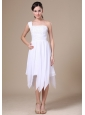 One Shoulder White Prom Dress With Asymmetrical Appliques Decorate