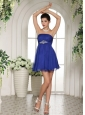 Peacock Blue Empire Beading 2013 Prom Dress With Mini-length