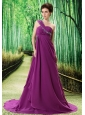 Purple One Shoulder Prom Dress Appliques and Ruch In Graduation