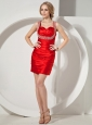 Red Straps Mini-length Column Prom Dress With Beaded Decorate