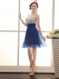 Royal Blue Beaded Decorate Bodice A-line Mini-length Cocktail Prom Gowns 2013 Custom Made