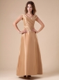 Ruch V-neck Ankle-length Gold 2013 Bridesmaid Dress