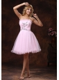 Strapless Baby Pink and Custom Mini-length Made For 2013 Prom Dress With Beading Organza