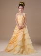 Straps Beading Organza Yellow A-Line Flower Girl Dress