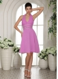 Stylish Lavender Chiffon Halter 2013 Prom Cocktail Dress With Beading and Ruch
