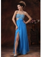 Teal Beaded Decorate Bust Stylish Evening Dress With Strapless Chiffon