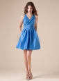 V-neck Blue Mini-length Taffeta 2013 Prom / Homecoming Dress