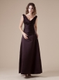 V-neck Brown Ankle-length Satin 2013 Bridesmaid Dress