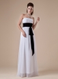 White Chiffon Bridesmaid Dress Strapless Neckline Ruch and Black Belt Decorate