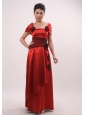 Wine Red Strapless Handle-Made Flowers Column / Sheath Wine Red Mother of the Bride Dress