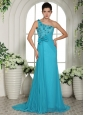2013 Baby Blue Hand Made Flowers and Ruch One Shoulder Prom Gowns With Brush Train