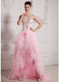 2013 Baby Pink High-low Ruffled Layeres Beading Prom Celebrity Dress
