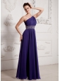 2013 Eggplant Purple One Shoulder Ruch and Beading Prom Celebrity Dress