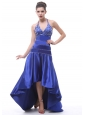 2013 Halter Beaded A-line High-low For Royal Blue Prom Dress