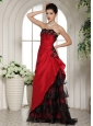 2013 Wine Red Ruffled Layeres Prom Dress With Appliques and Ruch