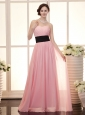 Baby Pink Empire Sweetheart Floor-length Sash Custom Made Prom Gowns