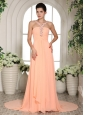 Baby Pink Straps Beading and Ruch Prom Dress With Court Train