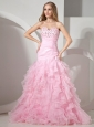 Baby Pink Sweetheart Neckline With Rhinestones and Ruffles Decorate Prom Dress