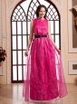 Bateau Hot Pink and Belt For 2013 Prom Dress  With Organza