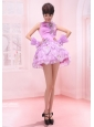 Bateau Lavender Mini-length Handle-Made Flowers Organza Prom Dress A-Line / Princess