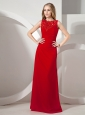 Bateau Red Prom Dress With Appliques and Chiffon