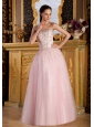 Beaded Decorate Bodice Light Pink Strapless Floor-length Tulle and Taffeta 2013 Prom / Pageant Dress