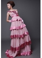 Beaded Decorate Bodice One Shoulder Brush   Train Chiffon and Taffeta Prom Dress