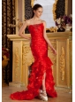Beaded Decorate Bust Mermaid Florid Red Organza Brush Train 2013 Prom / Pageant Dress