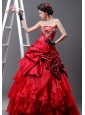 Beaded Decorate Bust Strapless Hand Made Flowers Floor-length Red Taffeta and Organza 2013 Quinceanera Dress