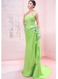 Beaded Decorate Shoulder Spring Green Chiffon Halter Brush / Sweep Empire Prom Dress