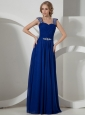 Beaded Decorate Straps Peacock Blue Empire Prom Dress Chiffon