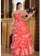 Beaded Decorate Sweetheart Neckline Rust Red Pick-ups Organza Floor-length 2013 Prom / Evening Dress
