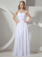 Beaded Decorate Waist On White Chiffon Sweetheart Neckline Prom Dress