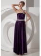 Beaded Decorate Waist One Shoulder Empire Purple Elastic Woven Satin Prom Dress Beaded Decorate Shoulder