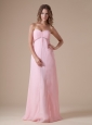 Beading and Ruch Decorate Bust Sweetheart Neckline Floor-length Pink Chiffon 2013 Prom / Evening Dress