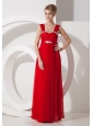 Beading Chiffon Red Column / Sheath Straps Floor-length Prom Dress