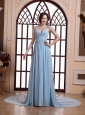Beading Decorate Straps Ruched Bodice and Baby Blue For Prom Dress