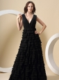 Black Ruffled Layers For V-neck Prom Dress