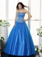 Blue and Sweetheart For Prom Dress With Beaded Decorate Bodice