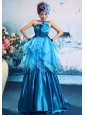 Blue Taffeta Beaded Bodice Strapless A-line Hand Made Flowers Prom Gowns Custom Made