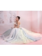 Bowknot Beading Multi-color One Shoulder A-Line / Princess Organza Prom Dress