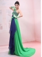 Bowknot Empire Strapless Chiffon Green Brush / Sweep Prom Dress