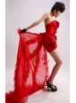 Column / Sheath Red Strapless Chiffon Handle-Made Flowers Watteau Prom Dress
