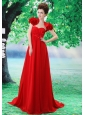 Custom Made Red 2013 Prom Dress Hand Made Flower and Ruch